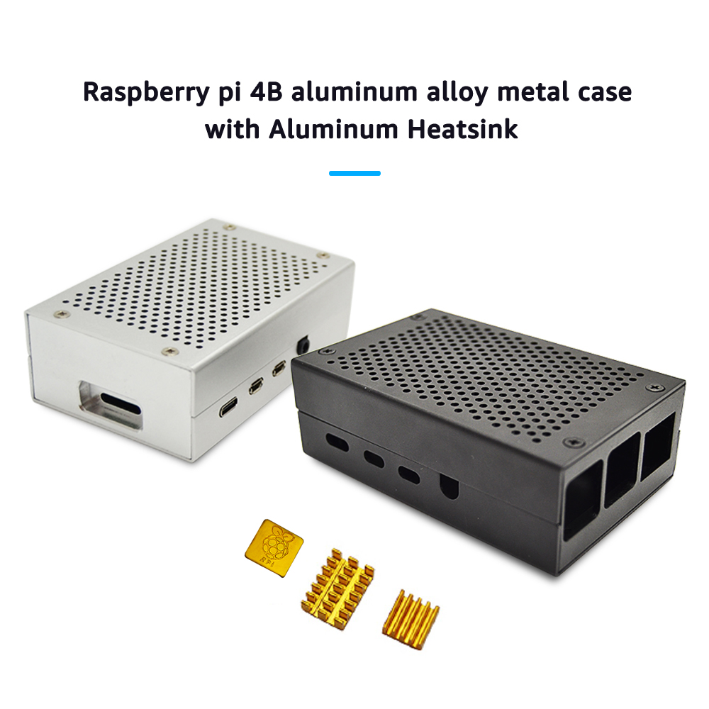 Raspberry Pi 4B Case Aluminum Alloy Metal  With 3pcs Aluminum Heatsink Radiator Cooling Kit Cooler