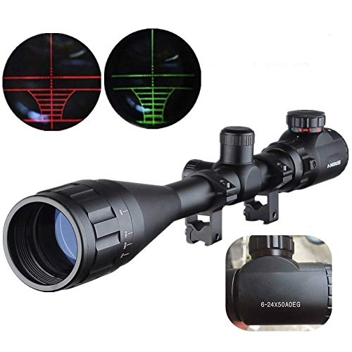 HuntingTactical Riflescope 6-24X50mm AOEG Optics Reticle Adjustable Green Red Dot Hunting Light Rifle Scope