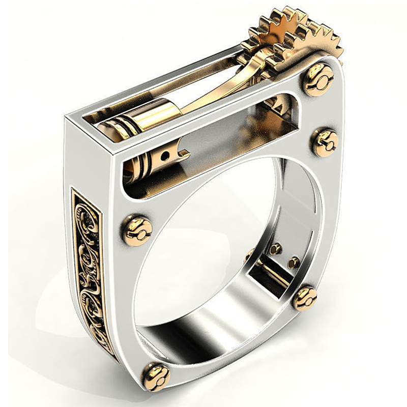 Fashion Mechanical Gear Wheel Men Ring Silver Color Punk Wedding Band Finger Rings for Women Modern Wedding Jewelry O5T292 image