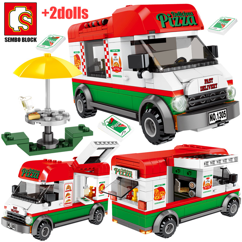 City Creative Pizza Takeaway Car Building Blocks For Legoing Street View Sanitation Cleaning Vehicle Figures Bricks Toys For Kid