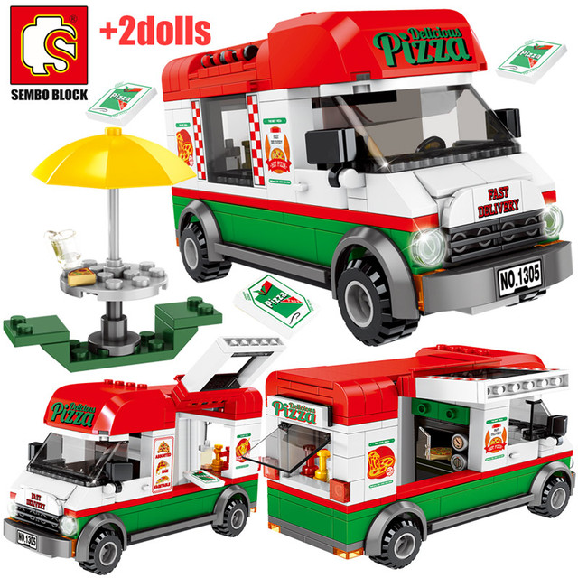 SEMBO City Creative Pizza Takeaway Car Building Blocks Street View Sanitation Cleaning Vehicle Figures Bricks Toys for Kid