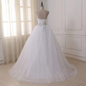 Image 2 - Jiayigong Voorraad Real Wedding Dresses Vestidos De Novia Sweetheart Sweep Trein Kant Applique Corset Trouwjurk Robe De Mariage