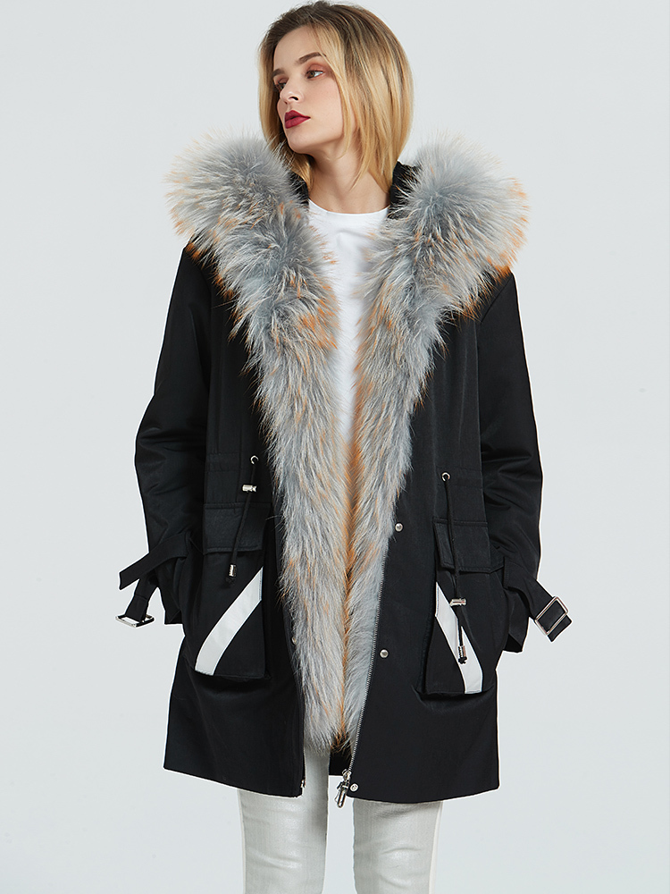 Fur Real Coat Female Real Rabbit Fur Liner Parka Winter Jacket Women Raccoon Fur Collar Warm Korean Long Jackets MY4155 S
