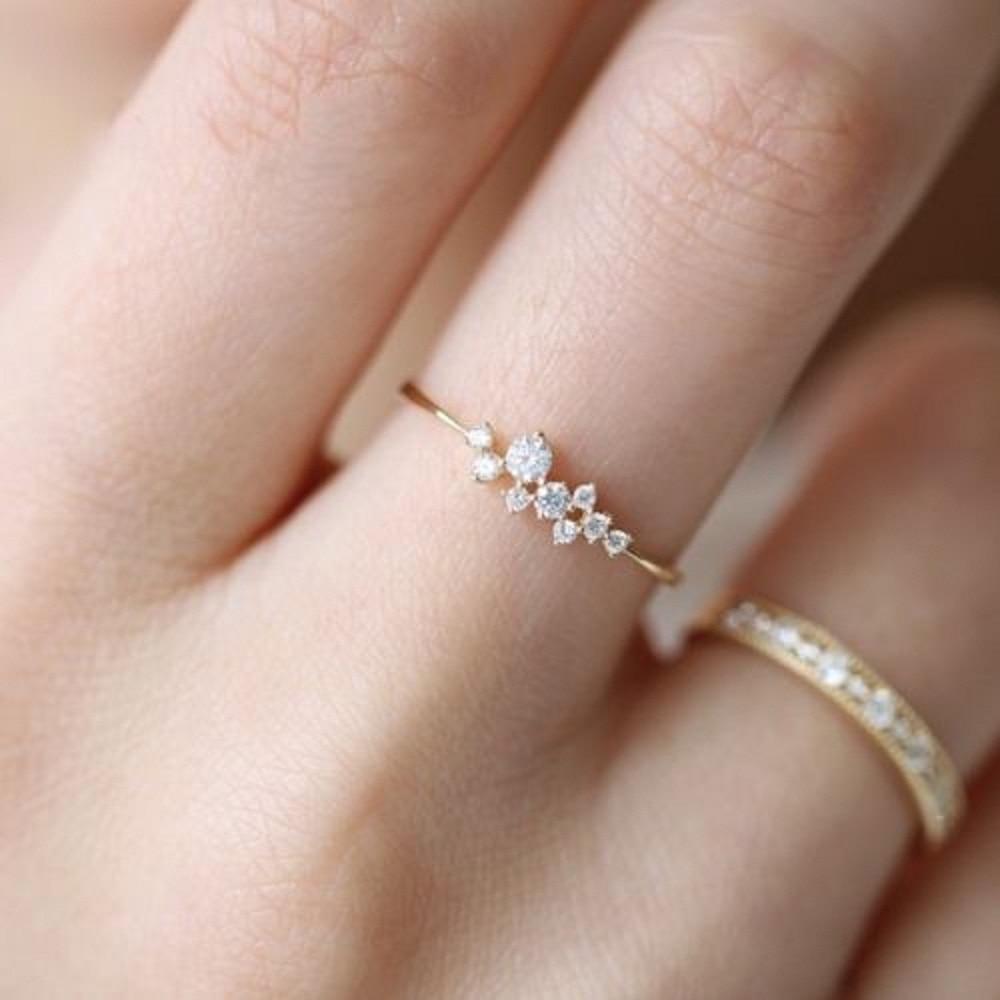 2019 New Fashion Women Rings Lady Elegant Simple Rhinestone Crystal Wedding Bridal Ring Gold Lover Rings Jewelry Gift