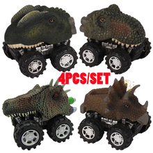 4pcs Monster Truck Toys Hot Wheels Dinosaur Pull Back Car Tyrannosaurus Rex Dinosaur Model Toy Vehicle's Childrens Gift Kids Boy kids collectible cute animal model dinosaur panda vehicle mini elephant bear toy truck tiger pull back car boy toys for children