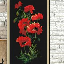 Red poppy flowers cross stitch package plant sets aida 1    black cloth people kit embroidery DIY handmade