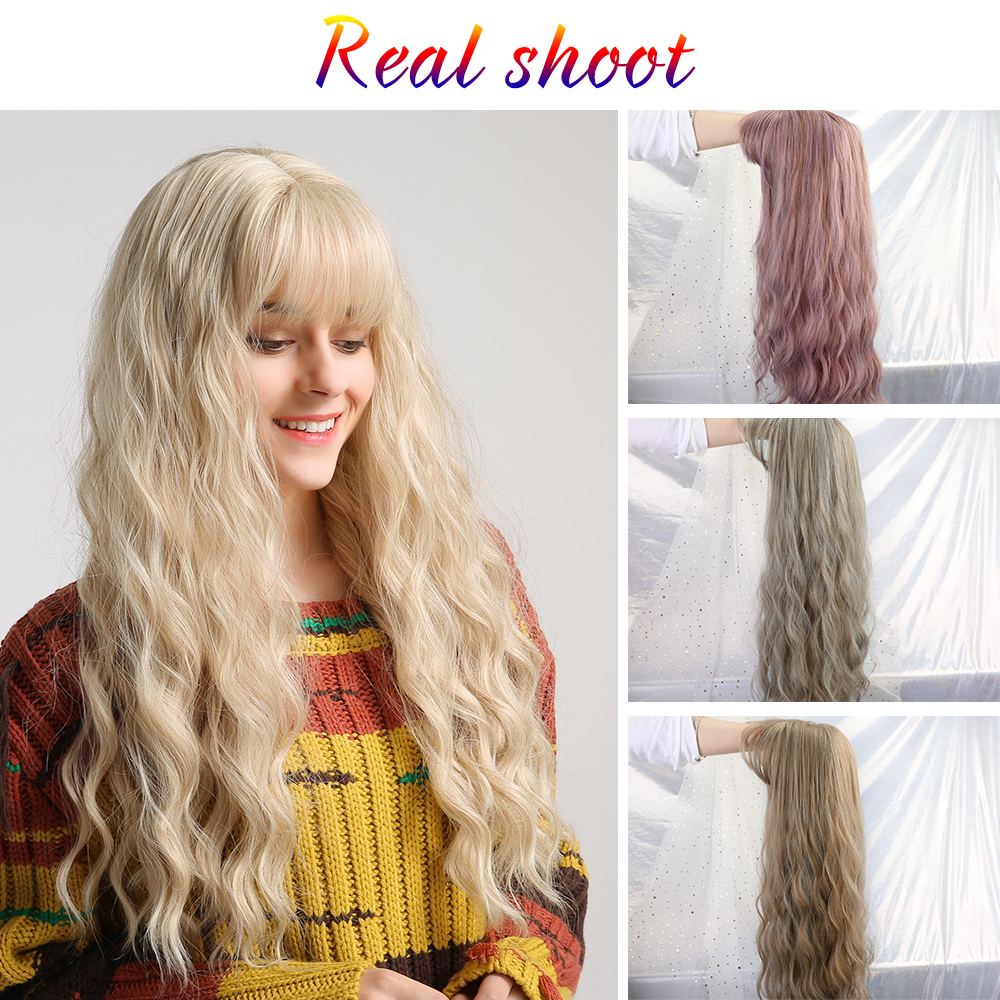"Image 3 - Inhair Cube 26"" Women's Wig Light Blonde Synthetic Hair Long Curly Wig Heat Resistant Weave  Wigs For Women Use and Cosplay-in Synthetic None-Lace  Wigs from Hair Extensions & Wigs"