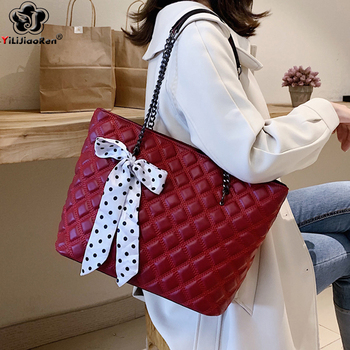 New Large Capacity Chain Handbags Fashion Women Plaid Shoulder Bag Ladies Leather Hand Bags Luxury Designer