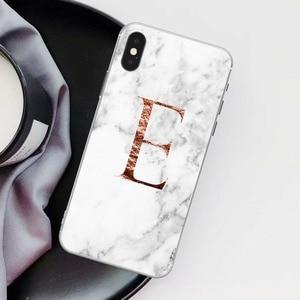 Image 5 - Letter Monogram A B C D white marble Soft silicone TPU Phone Case For iphone 5S 5 SE 6 6s Plus 7 7Plus 8 8Plus XS Max XR SE 2020