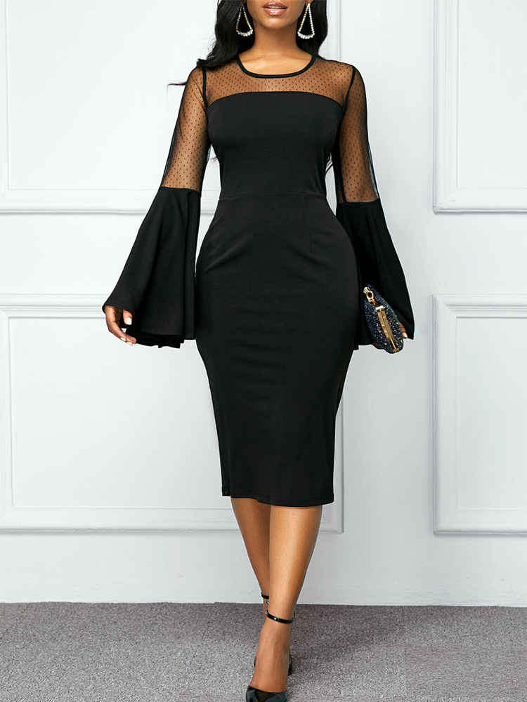 Vintage Bodycon Party Dress Women Slim Business Office Ladies Formal Dresses Long Flare Sleeve Midi Evening Elegant Dress