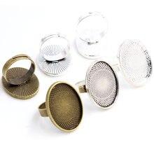 18x25mm 5 pçs antigo prata chapeado bronze 3 cores de bronze oval ajustável anel configurações em branco/base, caboches de vidro apto 18x25mm