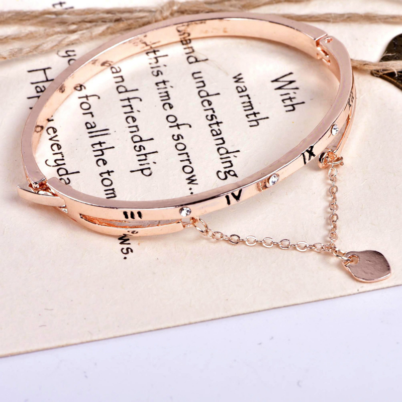 Fashion Luxury Rose Gold Rome Tassels Bracelets Bangles Female Heart Forever Love Charm Bracelet Women Famous Jewelry in Bangles from Jewelry Accessories