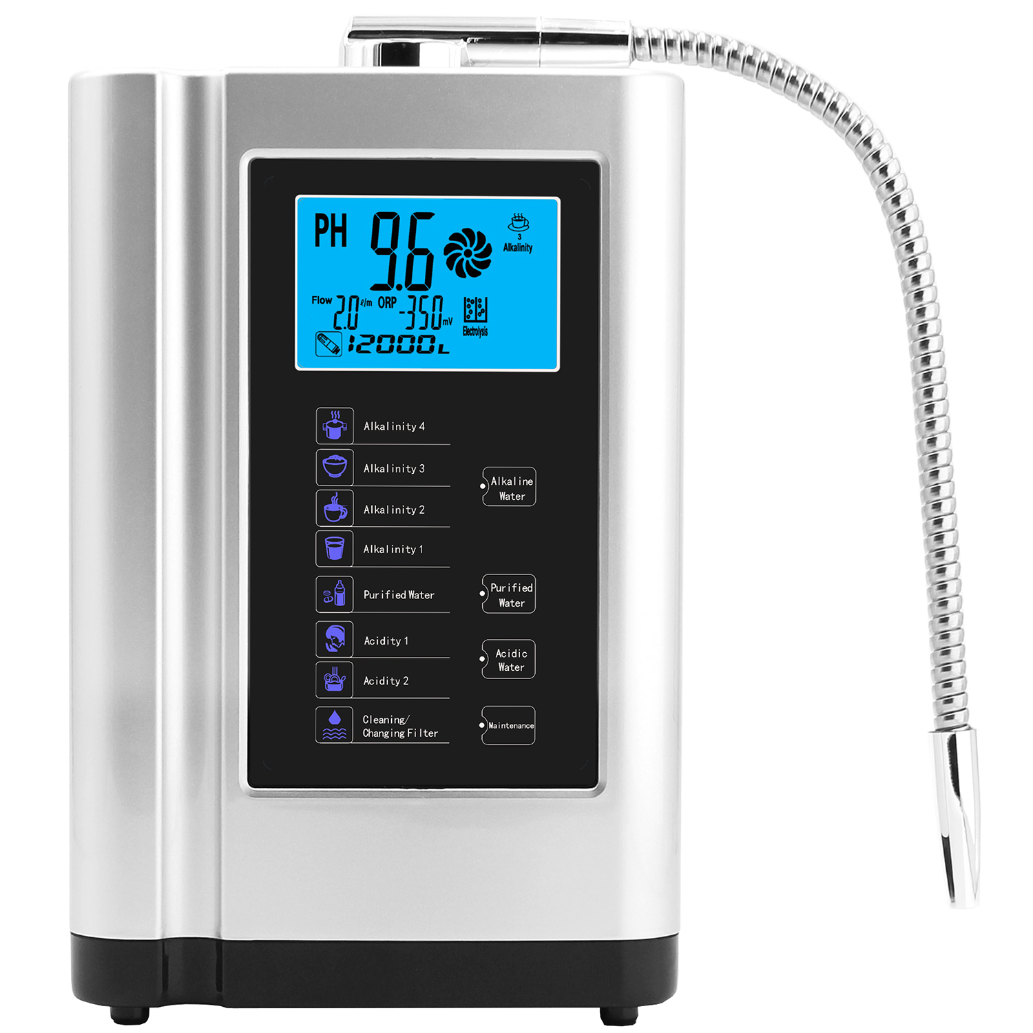Alkaline Water Ionizer Generator Machine Purifier Produces PH 3.5-10.5 Alkaline Acid Up To -650mV ORP LCD Touch Water Filter