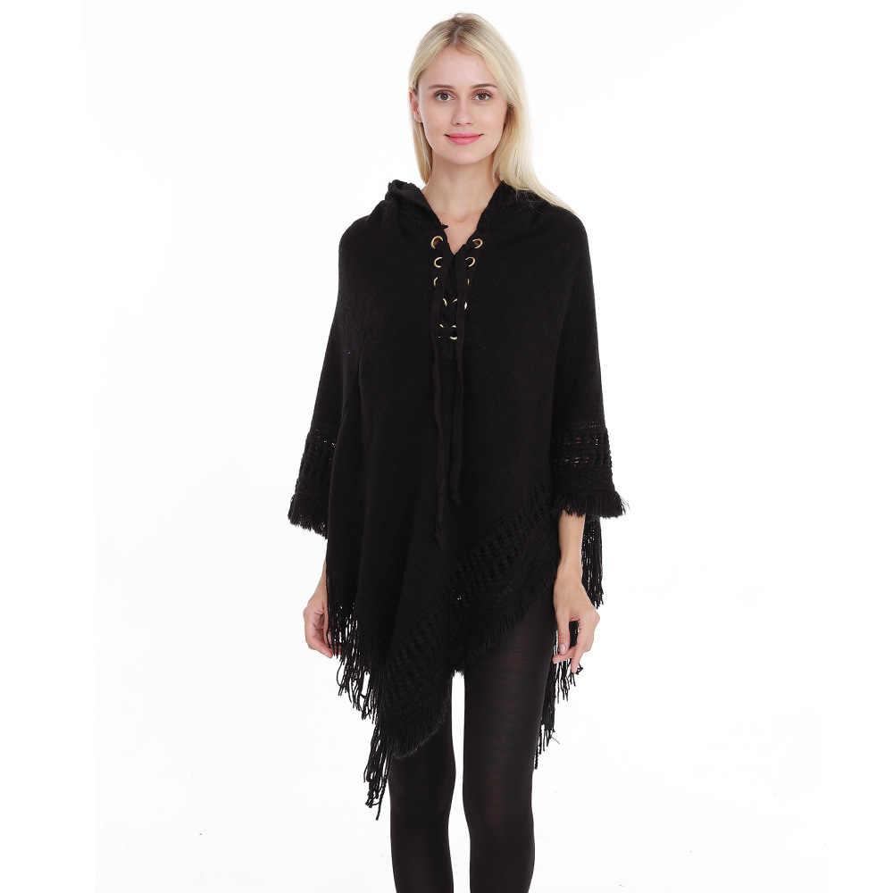 특대 겨울 패션 여성 니트 판초 술 두꺼운 스웨터 풀오버 캐주얼 스카프 batwing 슬리브 점퍼 판초와 케이프