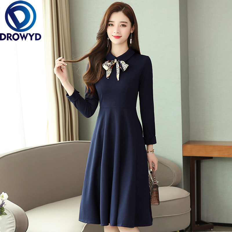 DROWYD Casual Knit Midi Dress For Women Fashion Girl Casual Red & Navy Bohemian Long-sleeved Dress Elegant Party Dresses Vestido