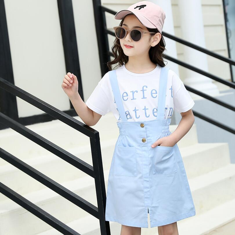 girls dress summer short suspender trouser+shirt 2pcs/set baby girls clothes sets fashionable kids jeans shorts 3-15T kids pant 3