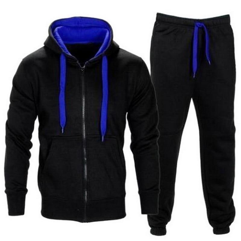 Laamei 2 Piece Men Set Autumn Zipper Hooded Jacket Sweatshirt Drawstring Pants Mens Sportwear Suits Casual Hoodies Tracksuits