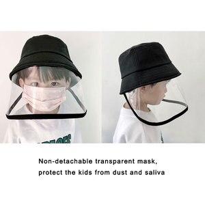 Image 3 - Детская Защитная Рыбацкая шляпа с защитой от брызг, Пыленепроницаемая несъемная маска, Детская однотонная шапка для отдыха на открытом воздухе, путешествий