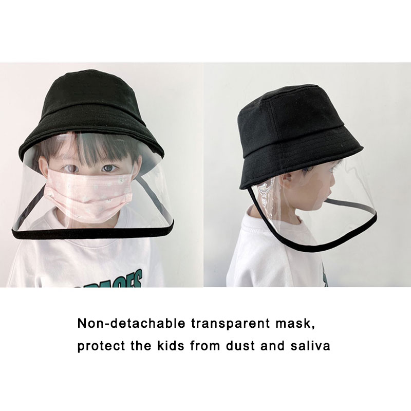 Image 3 - Children Protective Fisherman Hat Anti Saliva Splash Dustproof Non Detachable Mask Kids Solid Cap For Outdoor Travel Holiday HatMens Sun Hats   -