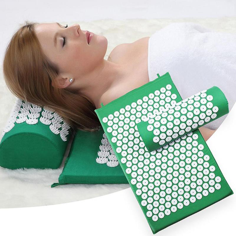 3packs Yoga Mat With Pillow, Chinese Acupuncture Treatment Massage Cushion Mats Relieve Stress Back Body Pain Spike Mat