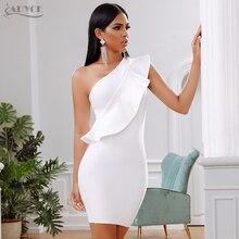 ADYCE 2019 yeni yaz kadın bandaj elbise ünlü akşam parti elbise seksi bir omuz Ruffles Bodycon kulübü elbiseler Vestidos