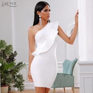 Image 1 - ADYCE 2019 yeni yaz kadın bandaj elbise ünlü akşam parti elbise seksi bir omuz Ruffles Bodycon kulübü elbiseler Vestidos