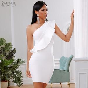 Image 1 - Adyce 2019 새로운 여름 여성 붕대 드레스 유명 인사 저녁 파티 드레스 섹시한 한 어깨 주름 bodycon 클럽 드레스 vestidos