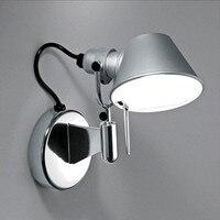American Modern Swing Long Arm LED Flexible Wall Lights AC90 260V Silver/Black Eye Protection Bedroom Bedside Wall Lamp