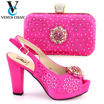 Fuchsia 2020 New  High Heels  Italian Designer Shoes And Bag Set To Match Afican Party Shoes With Matching Bags Set