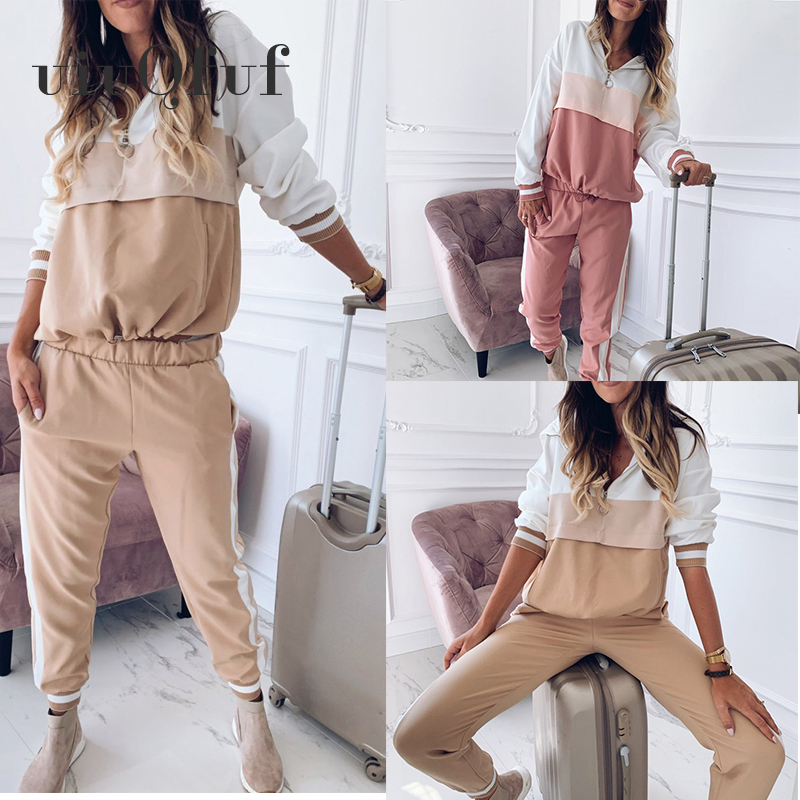 Ankle Length Pants Casual Women' S Sports Suit Female Tracksuit Autumn Winter Sportswear Spliced Hoodies Sweatshirt