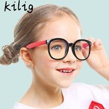 Round Glasses Kids Anti Blue Light Glare Filter Children Eye