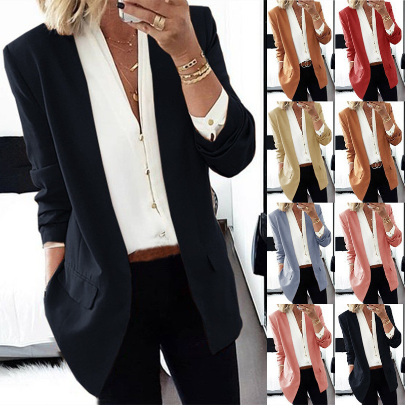 6 Colors Women OL Style Solid Color Long Sleeve V Neck Plus Size Slim Autumn Suit(S-3XL)