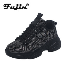 Fujin Sneakers Women Autumn Fashion Thick Bottom Shoes Dropshipping Breathable Crystal Polka Mesh Leisure Chunky