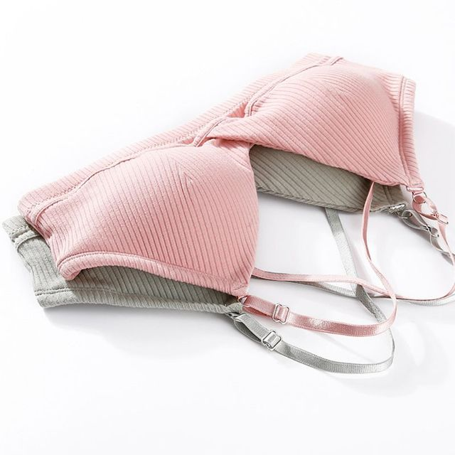 Women's Ribbed Cotton Bra, Seamless, Wire Free, Cross Strapped Back.