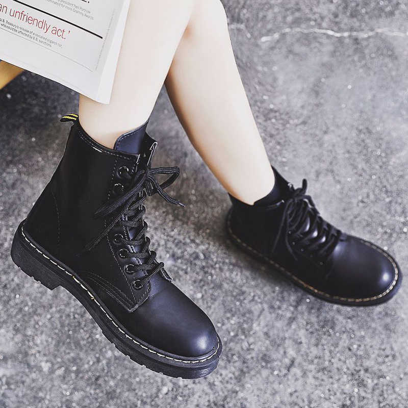 Snow Boots For Woman Botas mujer Genuine leather Women Martin Boot Fashion Winter Warm Shoes Female Motorcycle Ankle