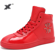 X Brand Fashion Glossy Red Shoes Men Casual Sneakers High
