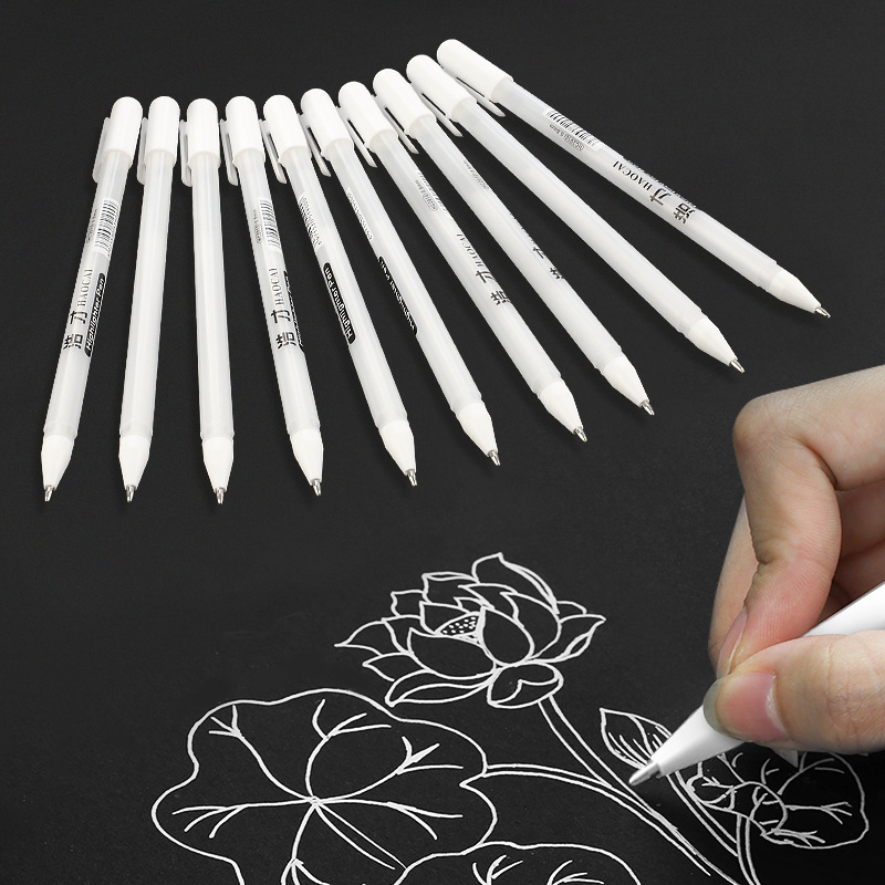 9 Colors Highlighter Pen Office School Stationery Store Paint White Marker Aritist Art Drawing Graffti Student Writing Mark Pen