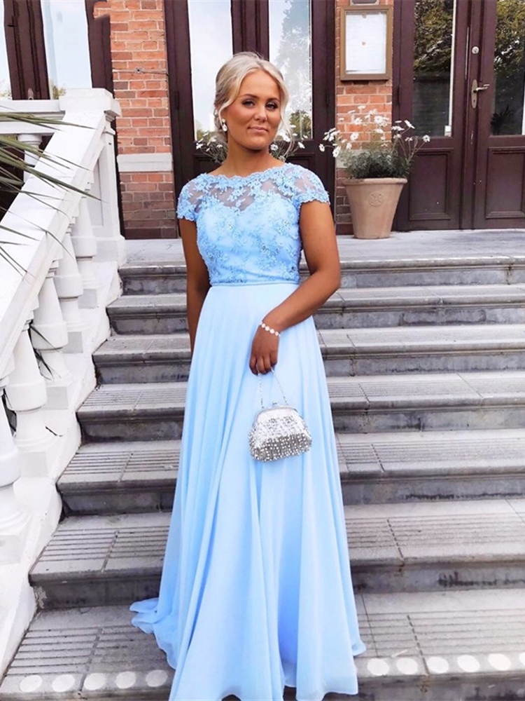 Light Sky Blue Lace Chiffon Long Mother of the Bride Dress Cap Sleeve Evening Gowns Mother of the Groom Wedding Party Guest