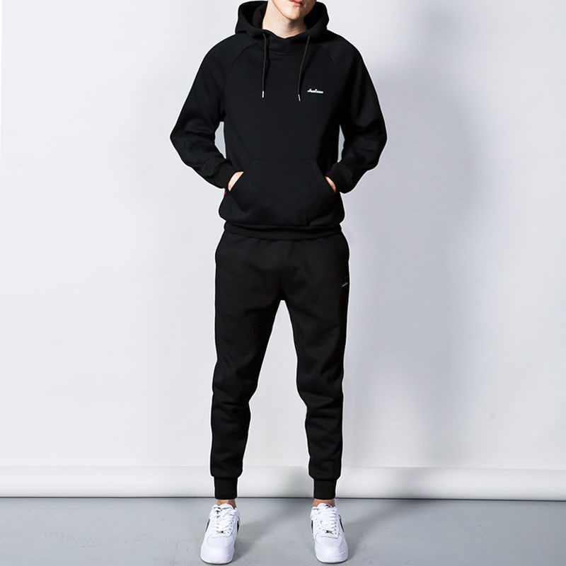 Fashion Embroidery Tracksuit Men Thermal Underwear Men Sportswear Sets Fleece Thick Hoodie+Pants Sporting Suit Malchandal Hombre