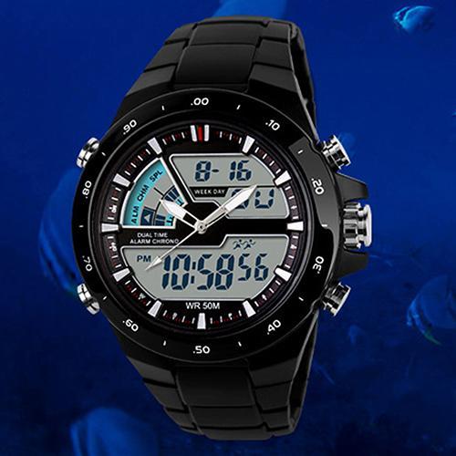 Men Wrist Watch Waterproof Clock Waterproof Sport Digital Analog Dual Time Alarm Date Chronograph Wrist Watch Mas-culino Fashion