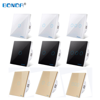 BONDA wall switch, EU standard, touch switch, wall lamp, white crystal, tempered glass panel, wall touch screen, Ac220v, 1 way chint lighting switches 118 type switch panel new5d steel frame four position six gang two way switch panel
