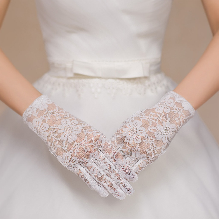Bride Wedding Gloves Etiquette Sunscreen Lace Short Paragraph Sunscreen Gloves With Finger Pattern Mesh Gloves