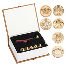 WYSE 6pcs Retro Seal Diy Envelope Wax Seal Stamps Rose Crown Tree Classic Wedding Invitations Stamp for Scrapbooking