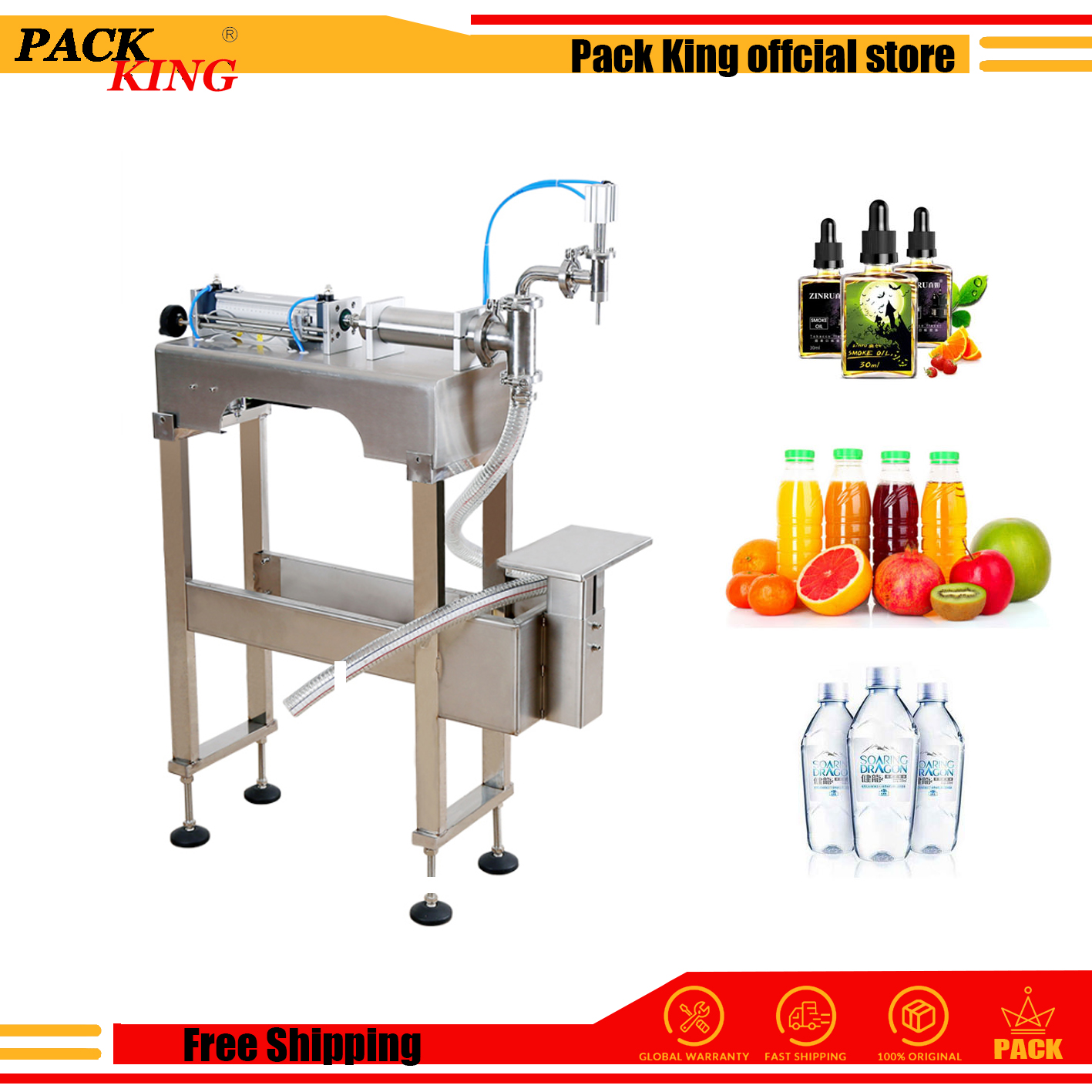 Water Milk Detergent Chemical Shampoo Juice Oil Eliquid Filling Machine Semi Automatic Pneumatic Piston Filler With Stand