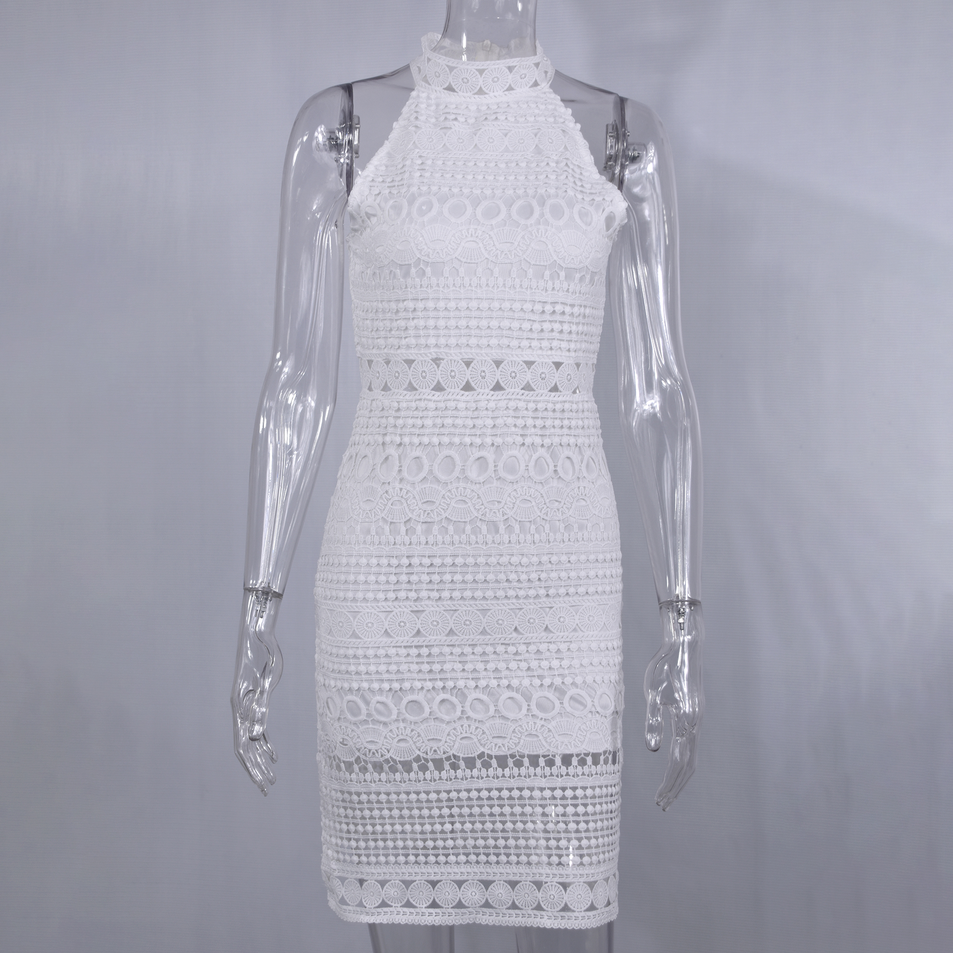 Lossky Sexy Lace Stitching Hollow Out Dress Elegant Women Sleeveless White Summer Chic Short Club Party Clothes Dresses 2020 3