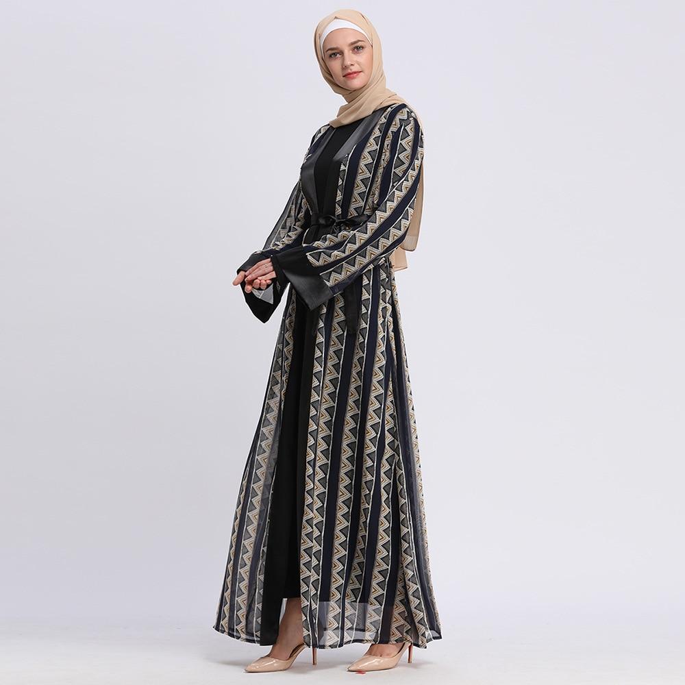 Исламская одежда мусульманская открытая абайя Женская винтажная кимоно с геометрическим принтом женский кафтан musulman Jubah Туника Рамадан ИД