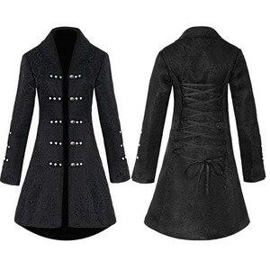 Image 1 - ヴィンテージスチームパンクゴシックスタイルの綿のジャケットリベットタキシードコート女性のための生地スリムアリコートトップ女性黒