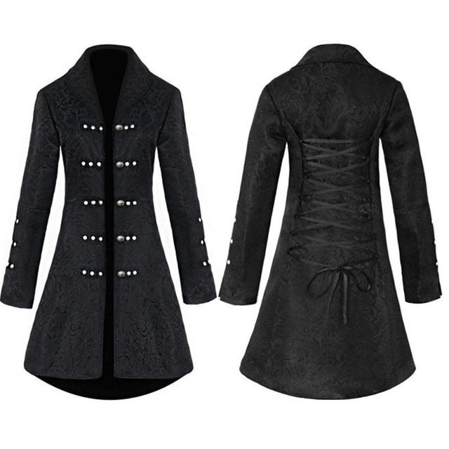 ヴィンテージスチームパンクゴシックスタイルの綿のジャケットリベットタキシードコート女性のための生地スリムアリコートトップ女性黒