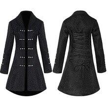 Giacca di Cotone di Stile dellannata Steampunk Gothic Rivetto Tuxedo Coat Per Le Donne Brocade Jacquard Sottile Coda di Rondine Top Coat Della Signora Nero