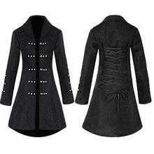 Vintage Steampunk Gothic Style Cotton Jacket Rivet Tuxedo Coat For Women Brocade Jacquard Slim Dovetail Coat Top Lady Black